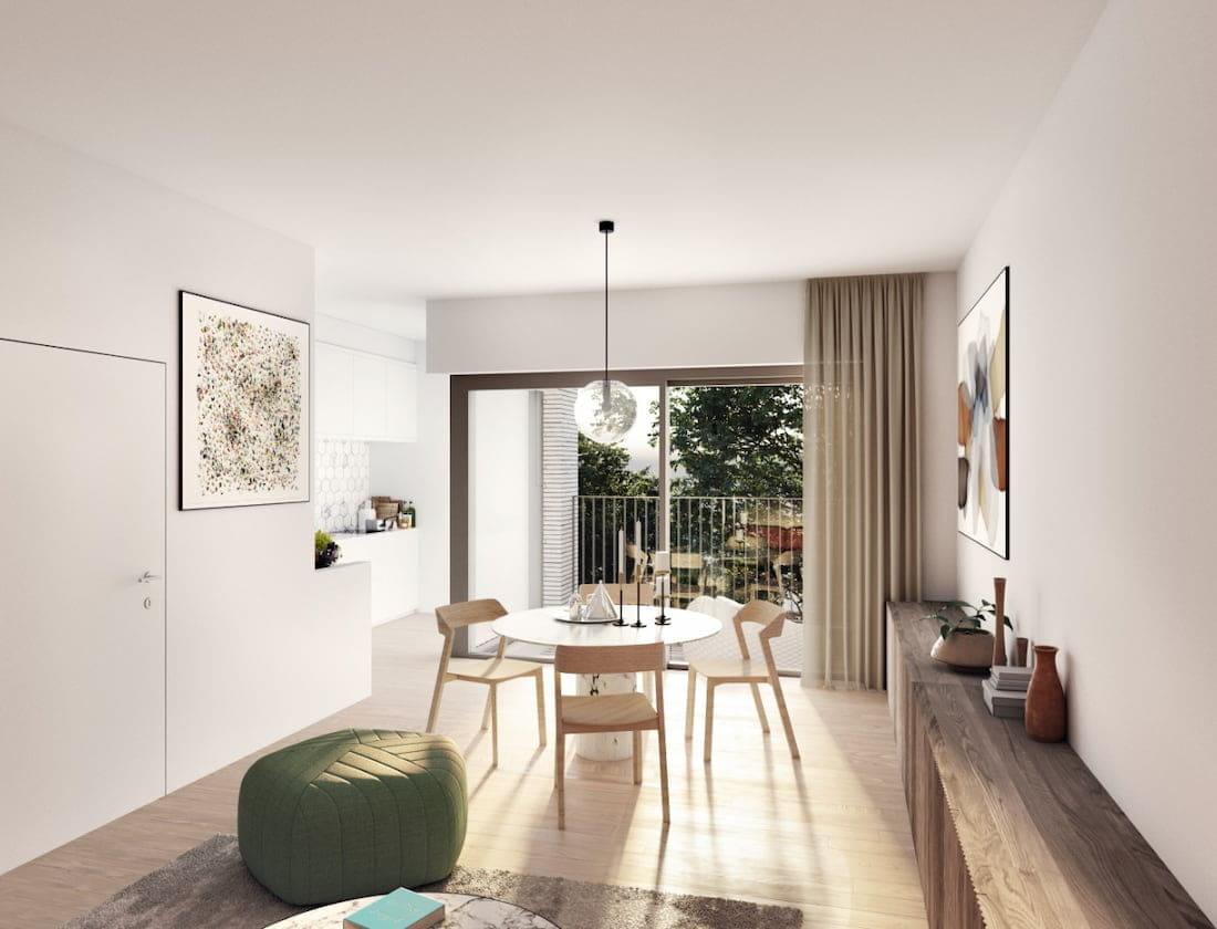 3D render van binnenin een appartement