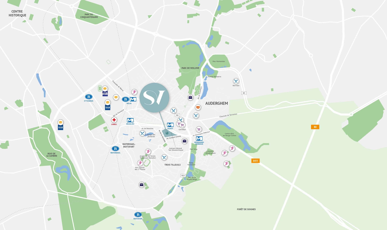 carte indiquant l'emplacement de Serenity Valley et des commodités à proximité