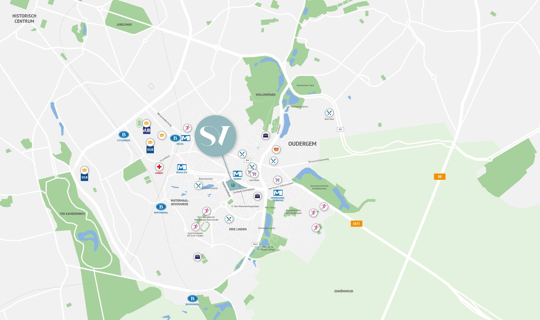 kaart met de locatie van Serenity Valley en nabije voorzieningen